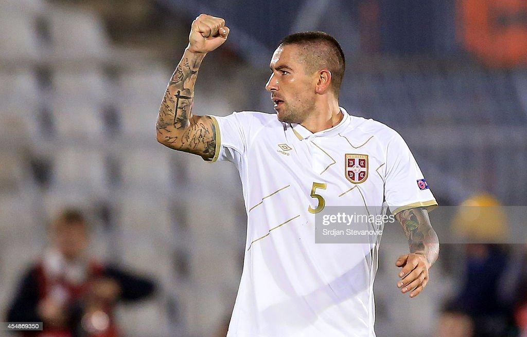 Aleksandar Kolarov of Serbia celebrates the scoring their goal during the International friendly match between Serbia and France at the Stadium JNA...