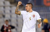 Aleksandar Kolarov of Serbia celebrates the scoring their goal during the International friendly match between Serbia and France at the Stadium JNA...