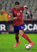 Aleksandar Kolarov of Serbia in action during the Euro 2016 qualifying football match between Serbia and Portugal at the Stadium FC Partizan in...