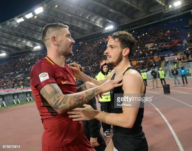 Aleksandar Kolarov with Alessandro Florenzi celebrates during the Italian Serie A football match between AS Roma and SS Lazio at the Olympic Stadium...