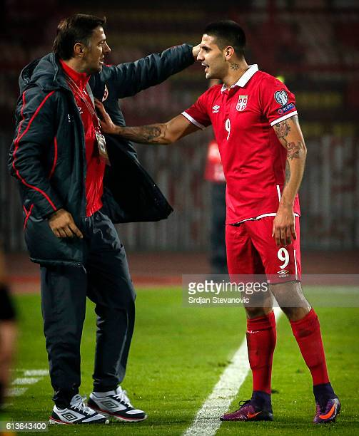 Aleksandar Mitrovic celebrate scoring a goal with the Mladen Krstajic of Serbia during the FIFA 2018 World Cup Qualifier between Serbia and Austria...