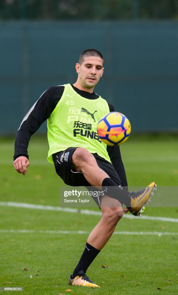 Aleksandar Mitrovic controls the ball during the Newcastle United Training Session at The Newcastle United Training Centre on October 26, 2017, in Newcastle, England.