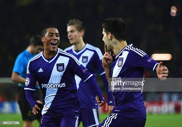 Aleksandar Mitrovic of Anderlecht celebrates scoring his goal with Youri Tielemans of Anderlecht during the UEFA Champions League Group D match...