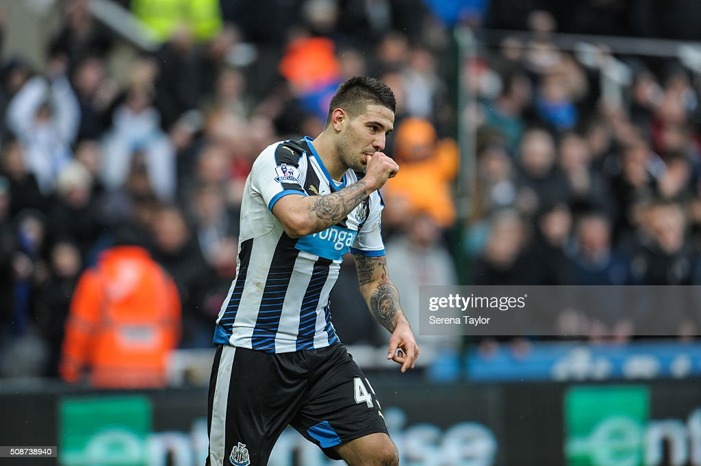 Aleksandar Mitrovic of Newcastle (45) celebrates after scoring the opening goal during the Barclays Premier League match between Newcastle United and West Bromwich Albion at St.James' Park on February 6, 2016, in Newcastle upon Tyne, England.