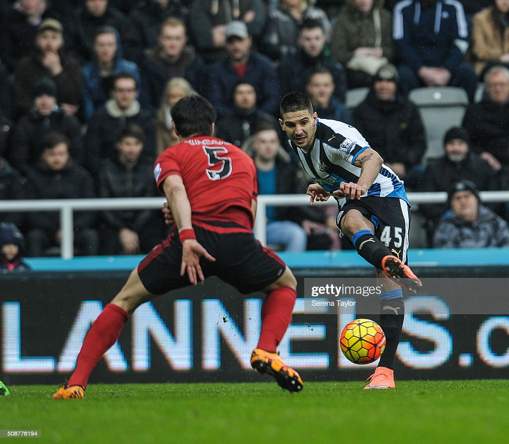 Aleksandar Mitrovic of Newcastle (45) passes the ball during the Barclays Premier League match between Newcastle United and West Bromwich Albion at St.James' Park on February 6, 2016, in Newcastle upon Tyne, England.