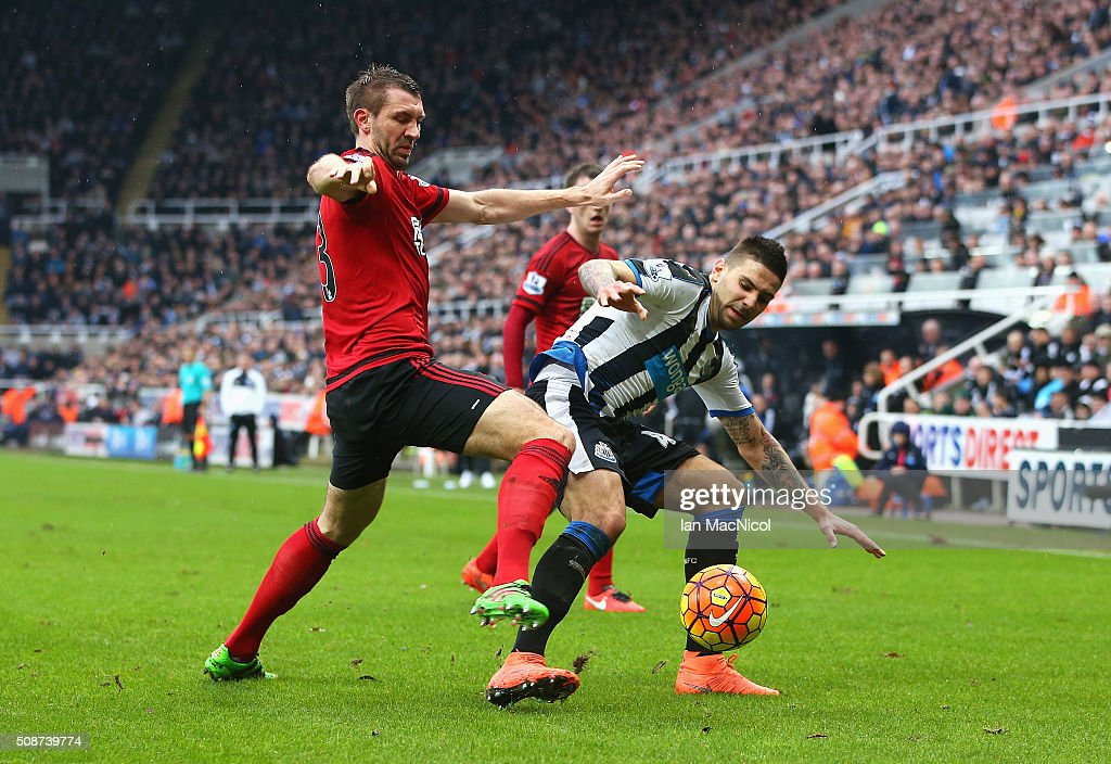 Aleksandar Mitrovic of Newcastle United and Gareth McAuley of West Bromwich Albion compete for the ball during the Barclays Premier League match between Newcastle United and West Bromwich Albion at St James' Park on February 6, 2016 in Newcastle upon Tyne, England.