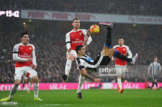 Aleksandar Mitrovic of Newcastle United attempts a bicycle kick during the Barclays Premier League match between Arsenal and Newcastle United at...