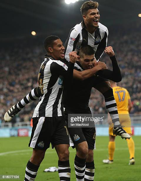 Aleksandar Mitrovic of Newcastle United celebrates after he scores his second goal during the EFL Cup Fourth Round match between Newcastle United and...