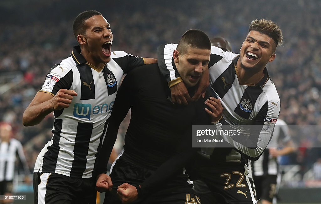 Aleksandar Mitrovic of Newcastle United celebrates after he scores his second goal during the EFL Cup Fourth Round match between Newcastle United and Preston North End at St James' Park on October 25, 2016 in Newcastle upon Tyne, England.