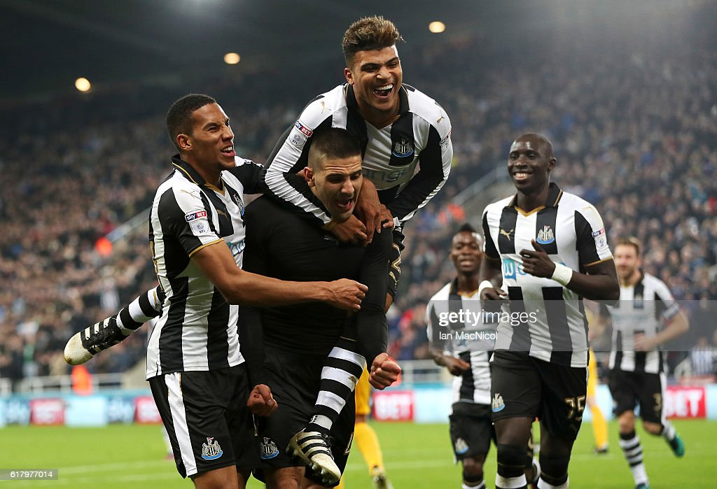 Aleksandar Mitrovic of Newcastle United (C) celebrates scoring his sides fourth goal with his team mates during the EFL Cup fourth round match between Newcastle United and Preston North End at St James' Park on October 25, 2016 in Newcastle upon Tyne, England.