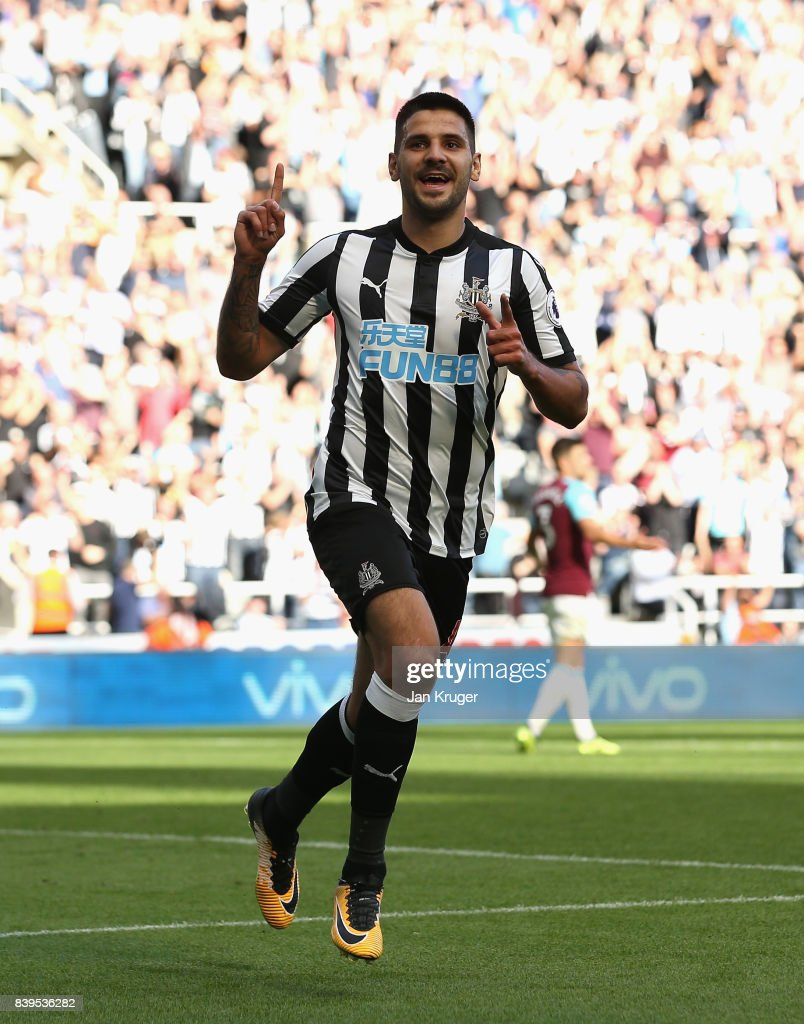 Aleksandar Mitrovic of Newcastle United celebrates scoring his sides third goal during the Premier League match between Newcastle United and West Ham United at St. James Park on August 26, 2017 in Newcastle upon Tyne, England.