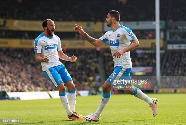 Aleksandar Mitrovic of Newcastle United celebrates scoring his team's first goal with Andros Townsend during the Barclays Premier League match...