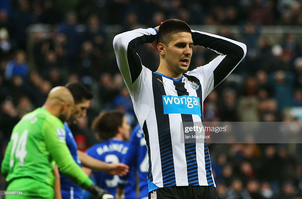 Aleksandar Mitrovic of Newcastle United reacts after a missed chance during the Barclays Premier League match between Newcastle United and Everton at St James' Park on December 26, 2015 in Newcastle upon Tyne, England.