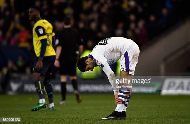 Aleksandar Mitrovic of Newcastle United reacts after a missed penalty during the Emirates FA Cup Fourth Round match between Oxford United and...