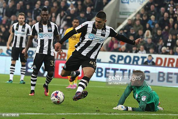 Aleksandar Mitrovic of Newcastle United scores his second goal during the EFL Cup Fourth Round match between Newcastle United and Preston North End...