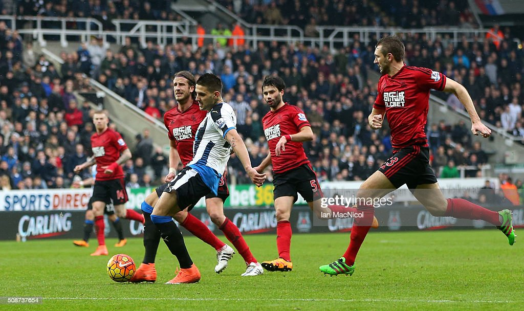 Aleksandar Mitrovic of Newcastle United scores his team's first goal during the Barclays Premier League match between Newcastle United and West Bromwich Albion at St James' Park on February 6, 2016 in Newcastle upon Tyne, England.