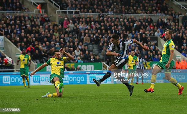 Aleksandar Mitrovic of Newcastle United scores their fourth goal during the Barclays Premier League match between Newcastle United and Norwich City...