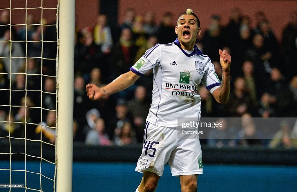Aleksandar Mitrovic of RSC Anderlecht celebrates during the Jupiler League match between Sporting Club Lokeren Oost-Vlaanderen and RSC Anderlecht on February 21, 2014 in Lokeren, Belgium.