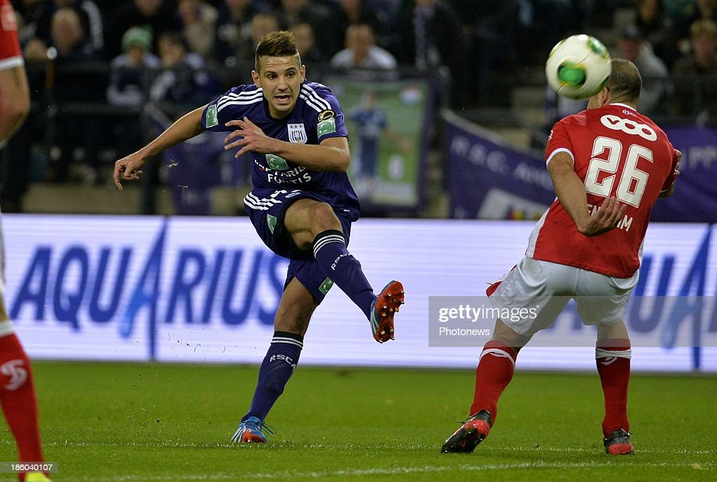 Aleksandar Mitrovic of Rsc Anderlecht during the Jupiler League match between RSC Anderlecht and Standard Liege on October 27, 2013 in Anderlecht, Belgium.