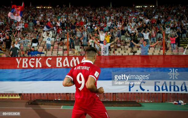 Aleksandar Mitrovic of Serbia celebrates scoring the goal during the FIFA 2018 World Cup Qualifier between Serbia and Wales at stadium Rajko Mitic on...
