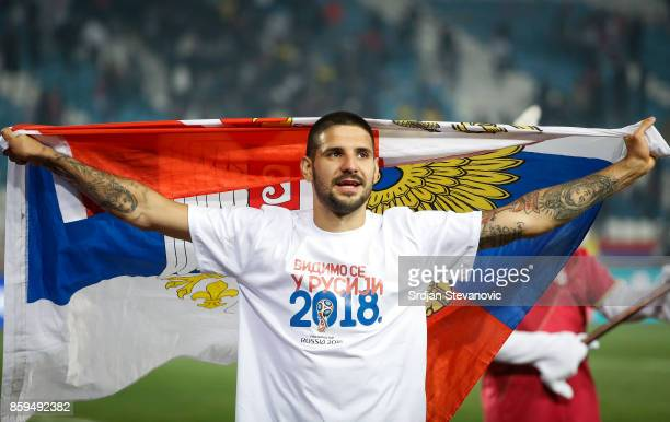 Aleksandar Mitrovic of Serbia celebrates the victory after FIFA 2018 World Cup Qualifier between Serbia and Georgia at stadium Rajko Mitic on October...