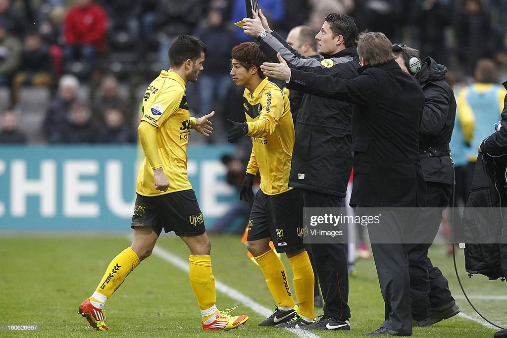 Aleksandar Radosavljevic of VVV-Venlo (L), Yuki Otsu of VVV-Venlo (C) during the Dutch Eredivisie match between VVV-Venlo and Ajax Amsterdam at stadium De Koel on february 3, 2013 in Venlo, The Netherlands