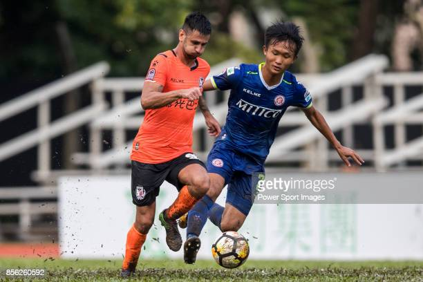 Aleksandar Randelovic of Sun Bus Yeun Long fights for the ball with b during the Hong Kong Premier League Week 4 match between BC Rangers vs Sun Bus...