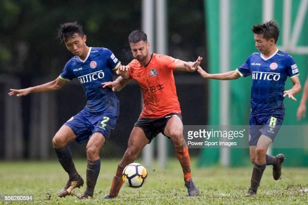 Aleksandar Randelovic of Sun Bus Yeun Long fights for the ball with Wang Kit Tsui of BC Rangers and Lok Yin Lai of BC Rangers during the Hong Kong...