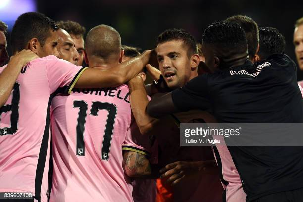 Aleksandar Trajkovski of Palermo celebrates after scoring the opening goal during the Serie B match between US Citta di Palermo and AC Spezia at...