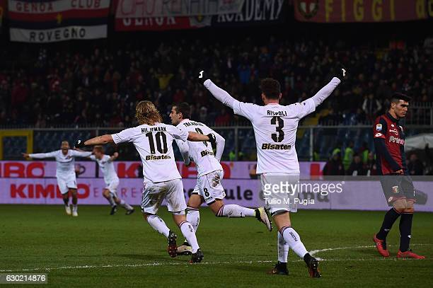 Aleksandar Trajkovski of Palermo celebrates after scoring the winning goal during the Serie A match between Genoa CFC and US Citta di Palermo at...