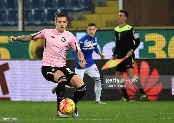 Aleksandar Trajkovski of Palermo in action during the Serie A match between UC Sampdoria and US Citta di Palermo at Stadio Luigi Ferraris on December...