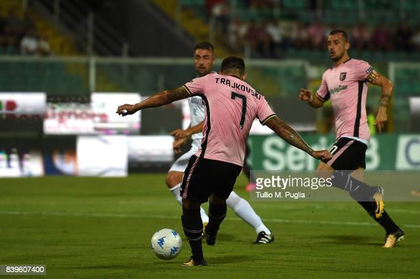 Aleksandar Trajkovski of Palermo scores the opening goal during the Serie B match between US Citta di Palermo and AC Spezia at Stadio Renzo Barbera...
