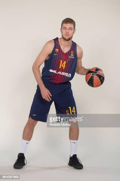 Aleksandar Vezenkov #14 poses during FC Barcelona Lassa 2017/2018 Turkish Airlines EuroLeague Media Day at Palau Blaugrana on September 25 2017 in...