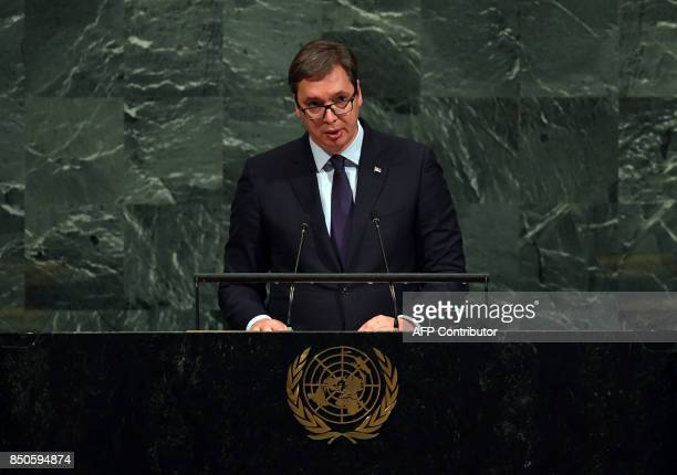 Aleksandar Vucic President of Serbia speaks during the 72nd session of the General Assembly at the United Nations in New York on September 212017 /...