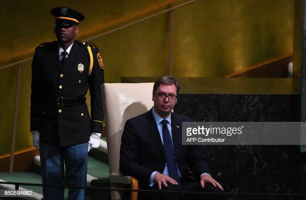 Aleksandar Vucic President of Serbia waits before speaking during the 72nd session of the General Assembly at the United Nations in New York...