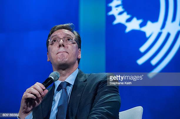 Aleksandar Vucic Prime Minister of Serbia participates in a panel discussion during the annual Clinton Global Initiative on September 20 2016 in New...