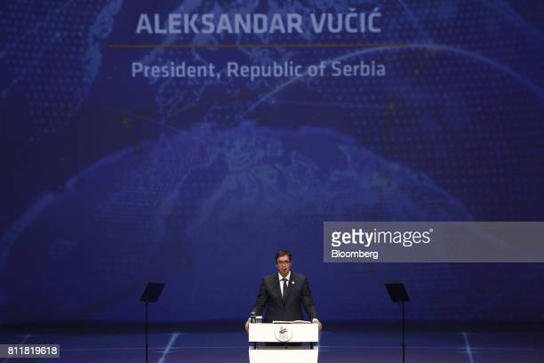 Aleksandar Vucic Serbia's president speaks during the 22nd World Petroleum Congress in Istanbul Turkey on Monday July 10 2017 Oilfell from the...