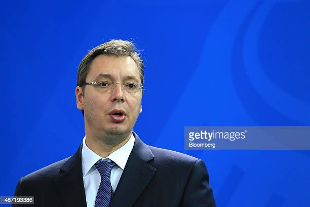 Aleksandar Vucic Serbia's prime minister speaks during a news conference at the Chancellery in Berlin Germany on Monday Sept 7 2015 German Chancellor...