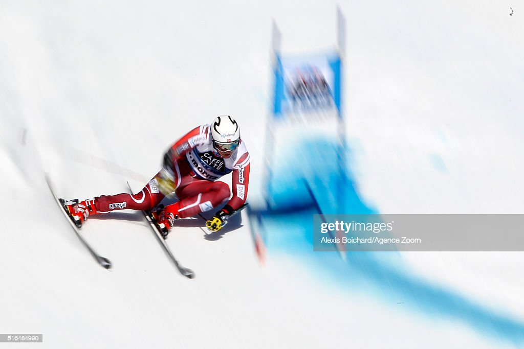 Aleksander Aamodt Kilde of Norway competes during the Audi FIS Alpine Ski World Cup Finals Men's Giant Slalom and Women's Slalom on March 19 2016 in...