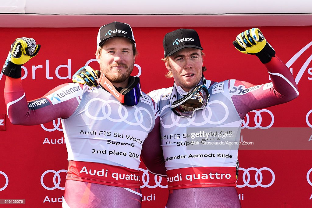 Aleksander Aamodt Kilde of Norway wins the SuperG crystal globe Kjetil Jansrud of Norway takes 2nd place in the overall SuperG standings during the...