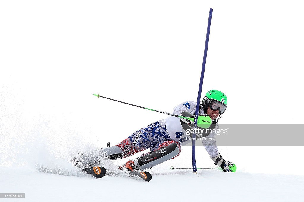Aleksander Andrienko of Russia competes during the Alpine Slalom (FIS Australia New Zealand Cup) during day seven of the Winter Games NZ at Coronet Peak on August 21, 2013 in Queenstown, New Zealand.