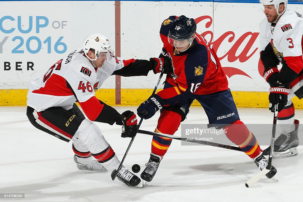 Aleksander Barkov #16 of the Florida Panthers and Patrick Wiercioch #46 of the Ottawa Senators battle for control of the puck during third period action at the BB&T Center on March 10, 2016 in Sunrise, Florida. The Panthers defeated the Senators 6-2.