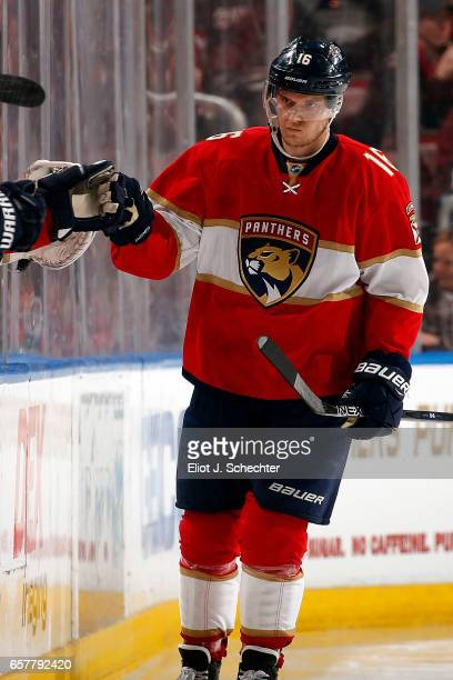 Aleksander Barkov of the Florida Panthers celebrates his goal with teammates during the second period against the Chicago Blackhawks at the BBT...