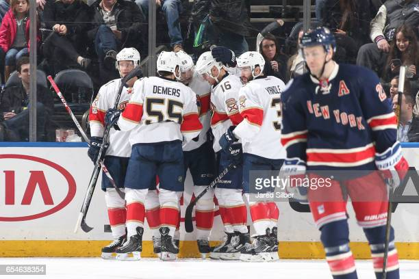 Aleksander Barkov of the Florida Panthers celebrates with teammates Jason Demers Keith Yandle and Jaromir Jagr after a goal in the third period...
