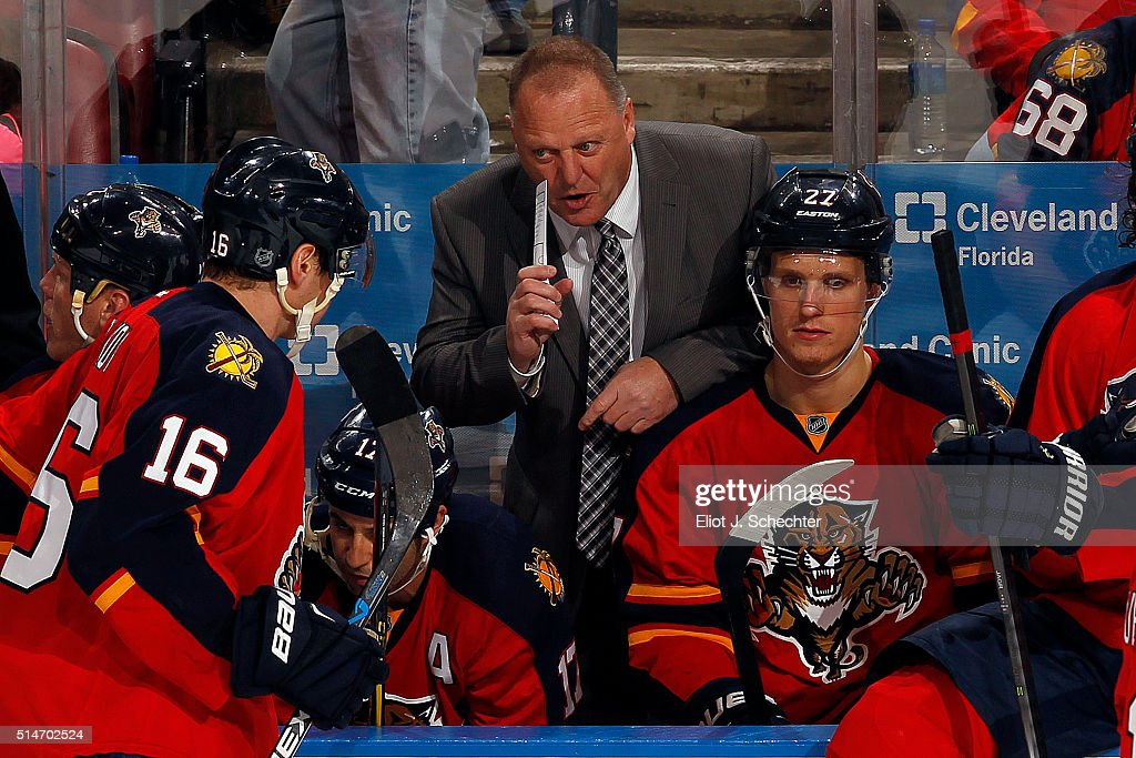 <a gi-track='captionPersonalityLinkClicked' href=/galleries/search?phrase=Aleksander+Barkov&family=editorial&specificpeople=8760147 ng-click='$event.stopPropagation()'>Aleksander Barkov</a> #16 of the Florida Panthers chats with Head Coach <a gi-track='captionPersonalityLinkClicked' href=/galleries/search?phrase=Gerard+Gallant&family=editorial&specificpeople=704668 ng-click='$event.stopPropagation()'>Gerard Gallant</a> during a break in the action against the Ottawa Senators at the BB&T Center on March 10, 2016 in Sunrise, Florida.