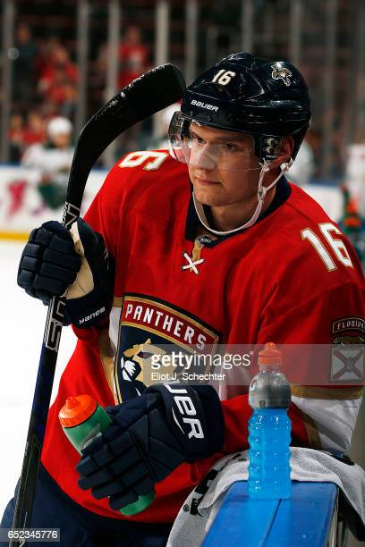 Aleksander Barkov of the Florida Panthers cools off a bit before leaving the ice after warm ups against the Minnesota Wild at the BBT Center on March...