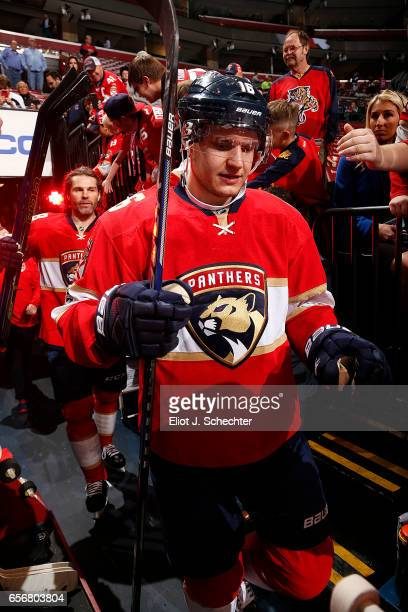 Aleksander Barkov of the Florida Panthers heads out to the ice prior to the start of the game against the Carolina Hurricanes at the BBT Center on...
