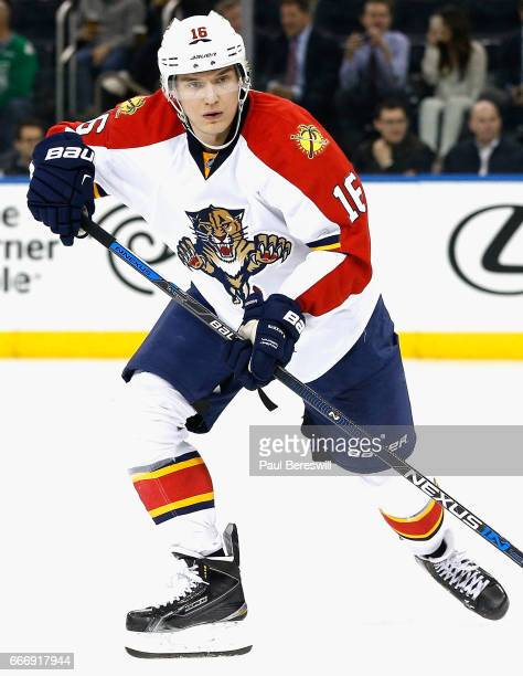 Aleksander Barkov of the Florida Panthers plays in the game against the New York Rangers at Madison Square Garden on March 21 2016 in New York New...