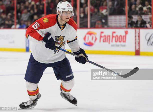 Aleksander Barkov of the Florida Panthers plays in the game against the Ottawa Senators at Canadian Tire Centre on April 7 2016 in Ottawa Ontario...