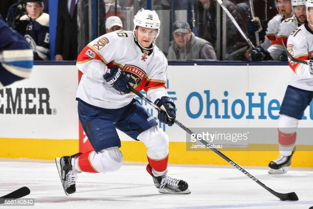 Aleksander Barkov of the Florida Panthers skates against the Columbus Blue Jackets on March 16 2017 at Nationwide Arena in Columbus Ohio